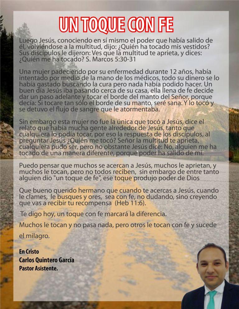 Mensajero UN TOQUE CON FE-27-05.18